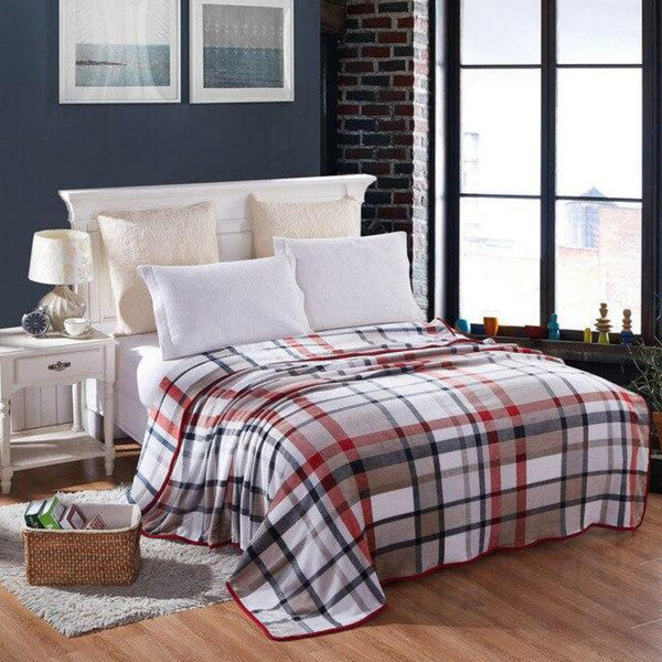 Soft Warm Khaki Plaid Blanket Throw Plush Thick Fleece Blankets for Sofa Bed Bedroom Home Decor Furnishing Trend