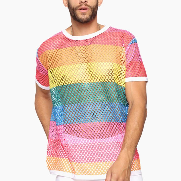 Mens Rainbow Mesh T-Shirt See-through Fishnet Men T Shirts Tops Man Fashion Streetwear Tshirt Trend
