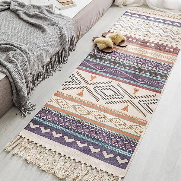 Bohemian Tapestry Rug   Retro Boho Hand Tassel Woven Cotton Linen Carpet Bedside Rugs Geometric Floor Mat Long Rug Bedspread Tapestry Home Decoration Trend