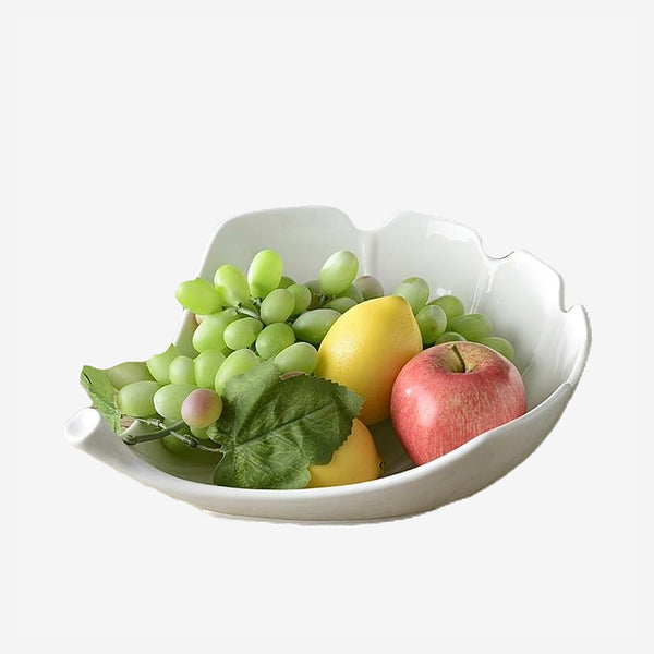 Leaf Shape Ceramic Serving Bowl Ornamental Porcelain Vegetables and Fruit Platter Dinnerware and Houseware for Home Decor and Gift Trend