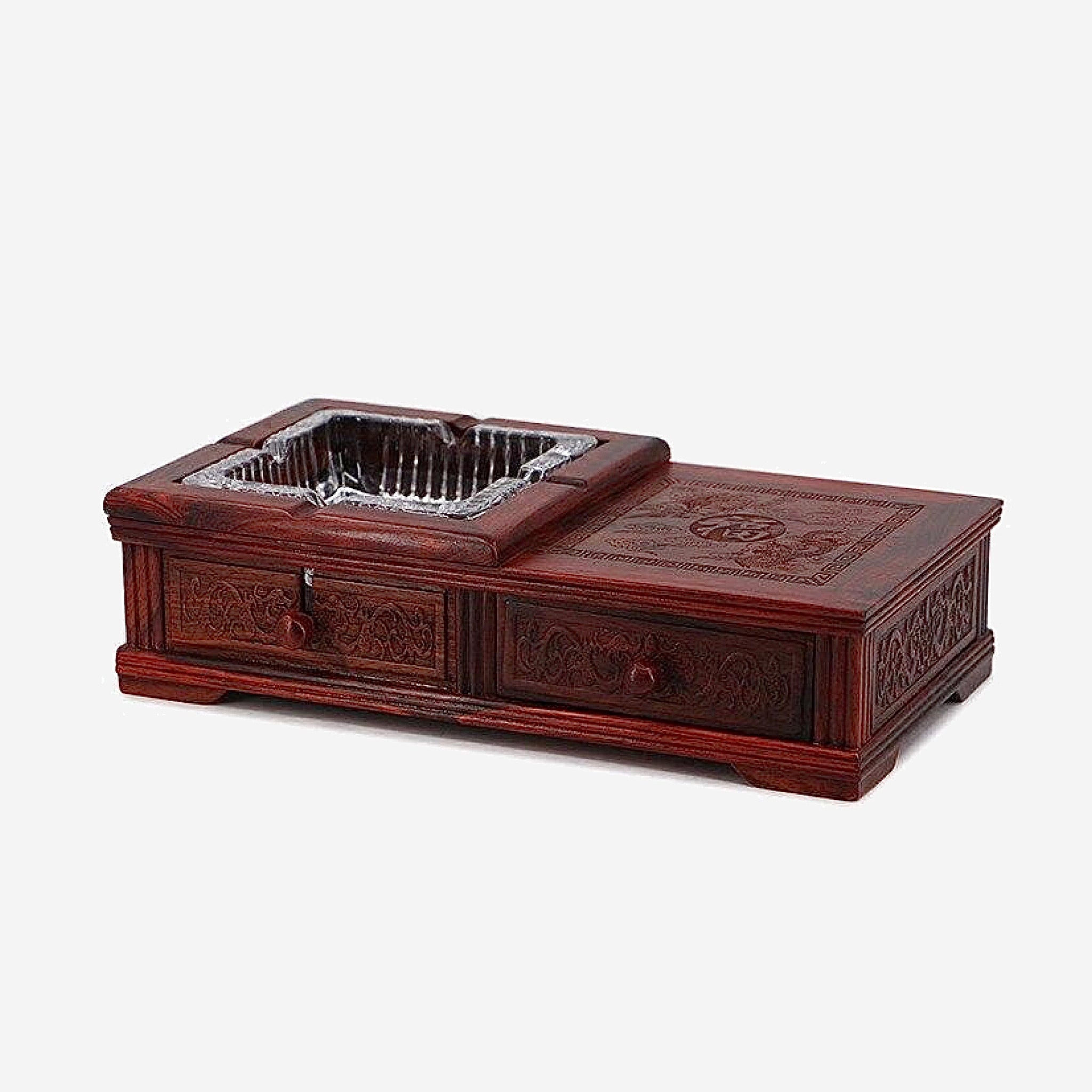 Chinese Mahogany Ashtray Cabinet   Red acerbity branch wood storage drawers creative personality retro large crystal ashtray china gift Trend