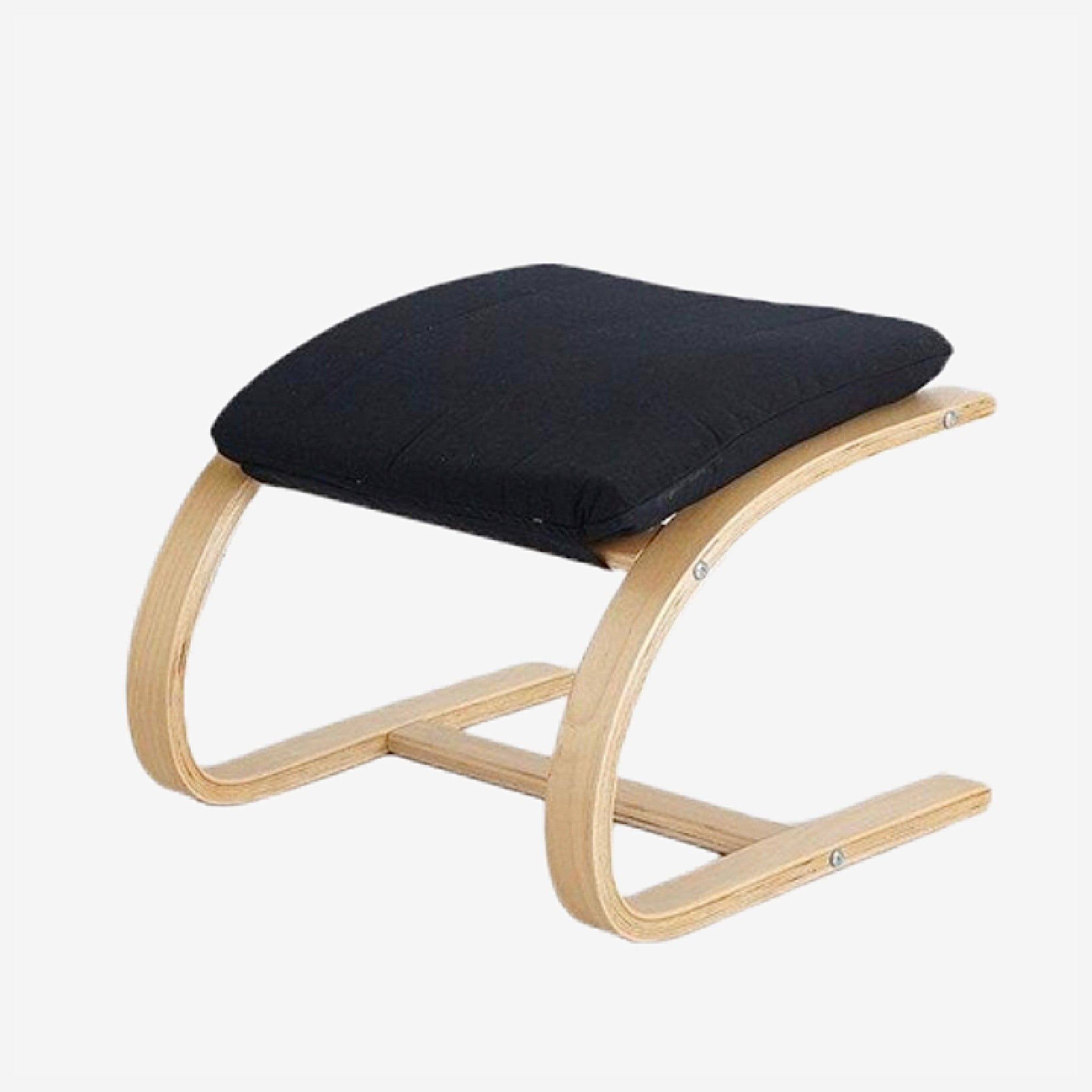 Contemporary Wooden Footstool Comfortable Black Fabric Cushion Ottoman Chair Small Plywood Wood Footrest Stools Furniture