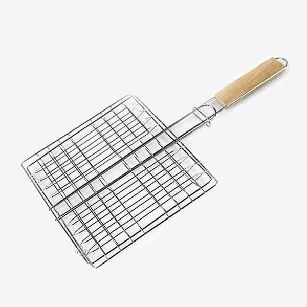 Stainless Steel BBQ Grill Basket Non-stick Barbecue Mesh Net For Fish Vegetable with Wooden Handle Wire Clamp Kit Tool Trend