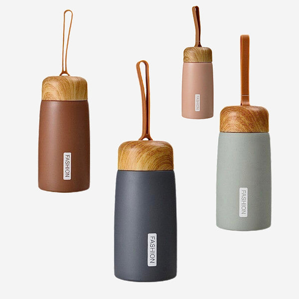 Stainless Steel Water Bottle Wooden Pattern Thermos Tumbler Flask Portable Tour Bottles Trend