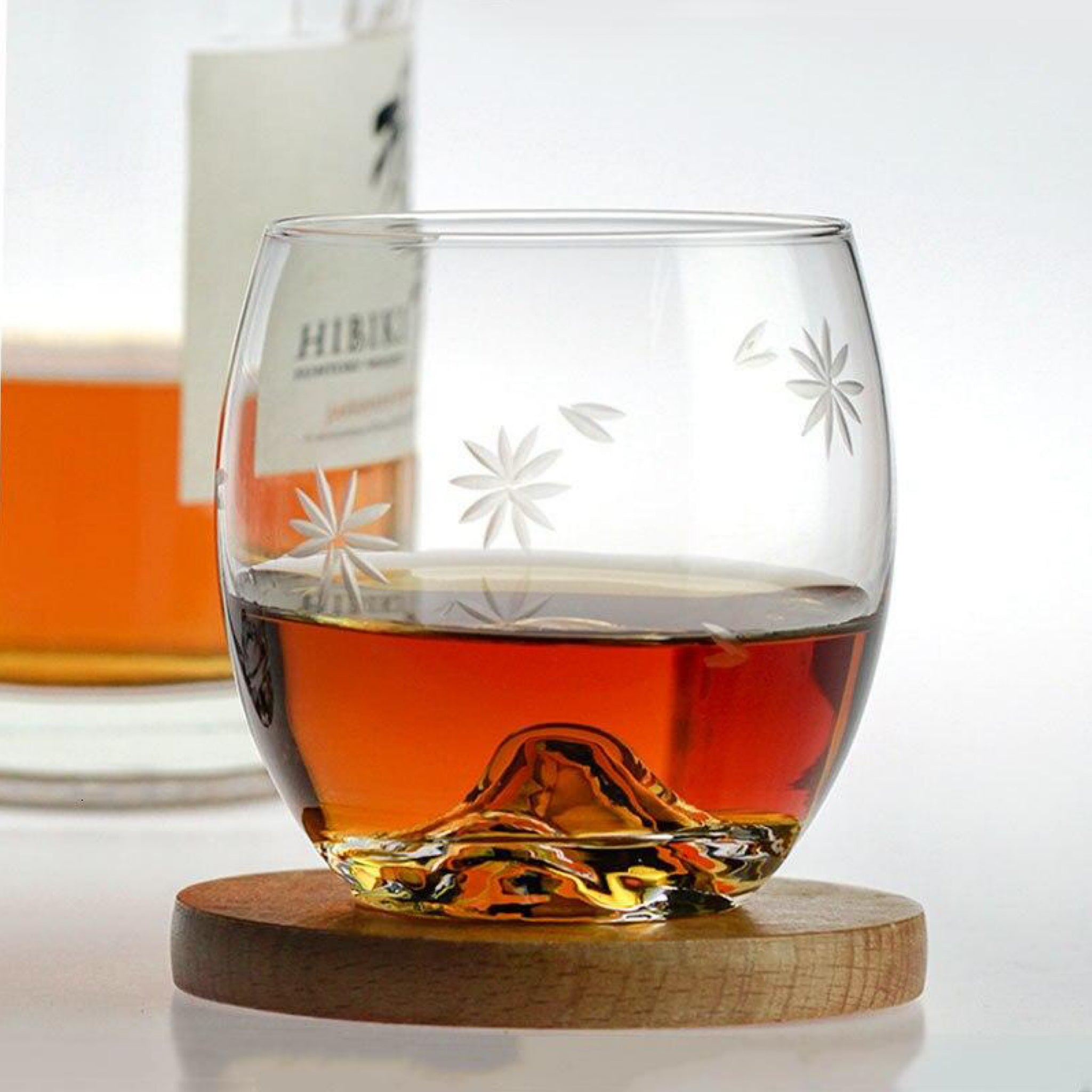 Japanese Mt. Fuji Whisky Glass Cup Ice Flower Design Transparent Lead-free Crystal Creative Brandy Rum Liquor Beer Glasses Japan Glassware Drinkware Trendy