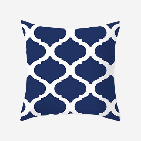 Geometric Cushion Covers Regal Navy Blue Print Pillow Case For Home Chair Sofa Decoration Pillowcases Cover 45cm*45cm Trend