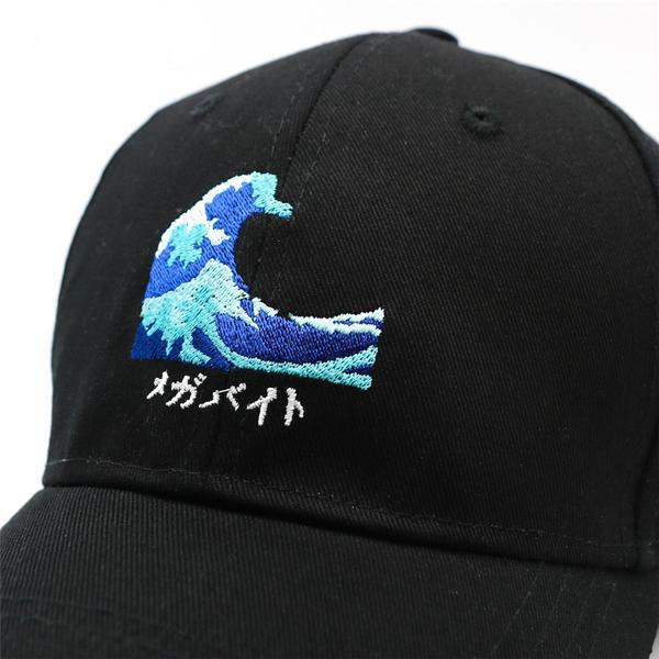 Japanese Harajuku The Wave Embroidery Black Baseball Caps Mens Womans Japan Snapback Cap Hats Style A