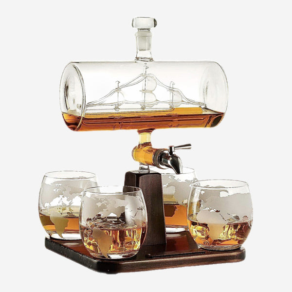5 Piece Antique Boat Shape Decanter Set 1 Bracket 1 Decanter 4 Cup Combination Creative Barware Sets Trend