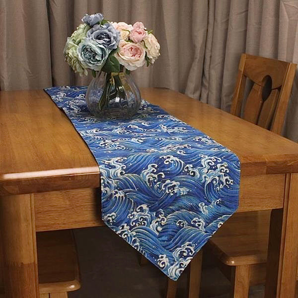 Japanese Sea Wave Table Runner Trending