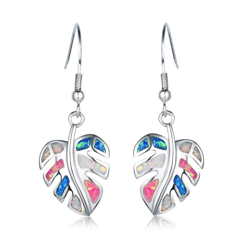 Rainbow Leaf Drop Earrings