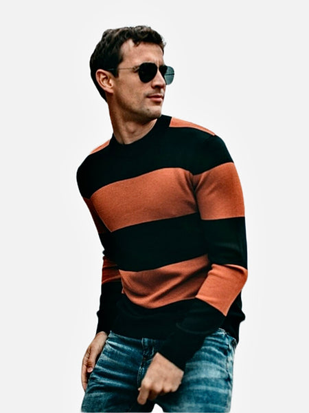 Supersoft Crewneck Sweater  Casual Slim Black color Striped Cotton Knit O-Neck Pullover Men's Sweaters Fashion Tops Trend