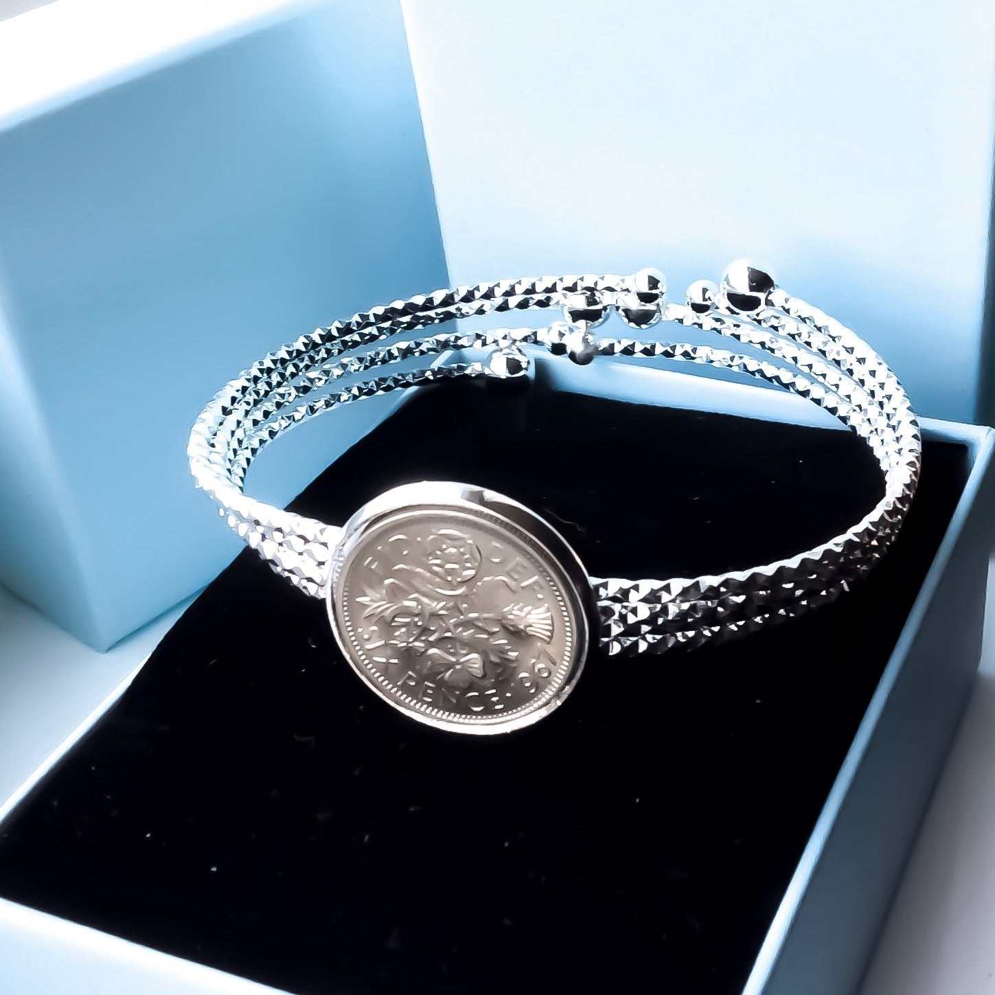 Comet Tail Lucky Sixpence British Coin Bracelet
