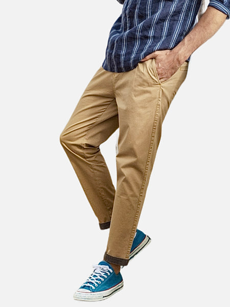 Slim Fit Cargo Pants           Casual khaki garment dyed ankle-length trousers striped turn up cuffs plus size Mens chinos Trend