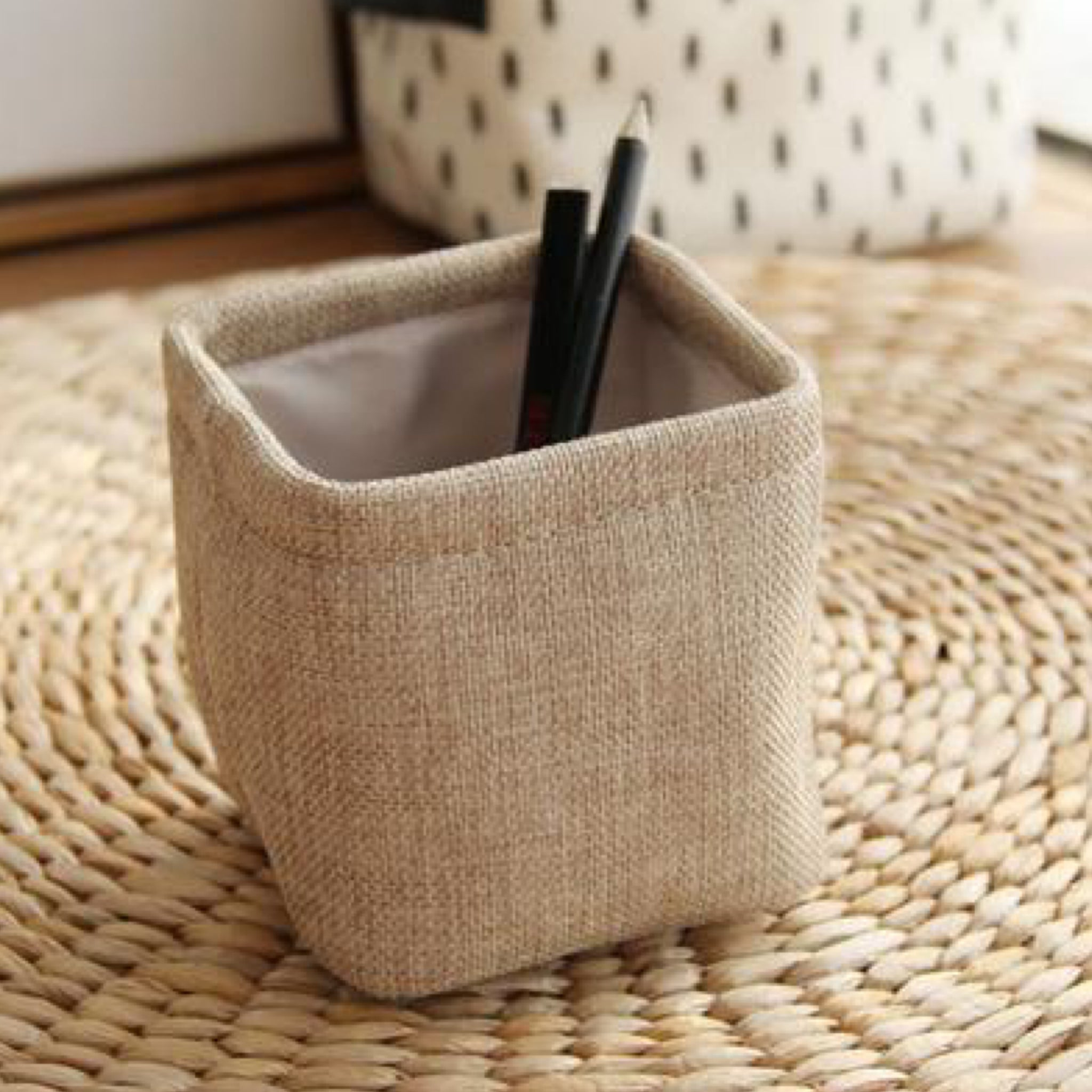 Mini Japanese Khaki Linen Pen Holder Desktop Boxes Cloth Art Brush Pot Photo Props Simple and Lovely Japan Key Box Little Pen Holders Trend