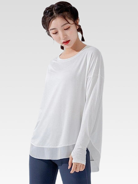 miFit Crewneck T-Shirt        Women's Sports long-sleeve solid white color Tee tops and blouses Trend