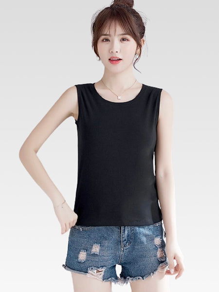 miFit Breathe Tank in Linen           Women's solid black color cotton camis slim fit sleeveless casual vest lower cut crop top for fitness summer tank tops Trend