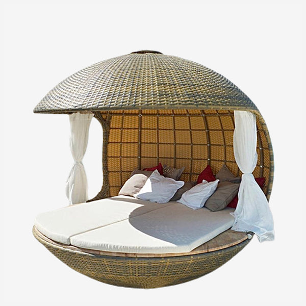 Outdoor Rattan Lounger Set   Balcony Villa PU Rattan Sofa Lying Bed Chairs Sets Trend