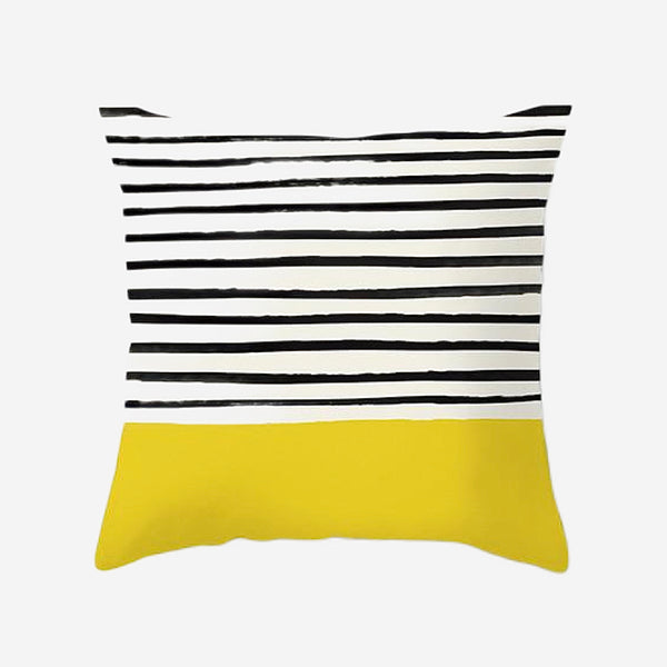 Geometric Cushion Covers Yellow Black Stripes Print Pillow Case For Home Chair Sofa Decoration Pillowcases Cover 45cm*45cm Trend