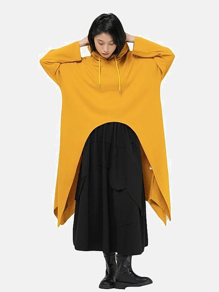 Oversize Hoodie Sweatshirt        Hooded collar long sleeve loose yellow asymmetrical hem designer pullover Womens sweatshirts Trend