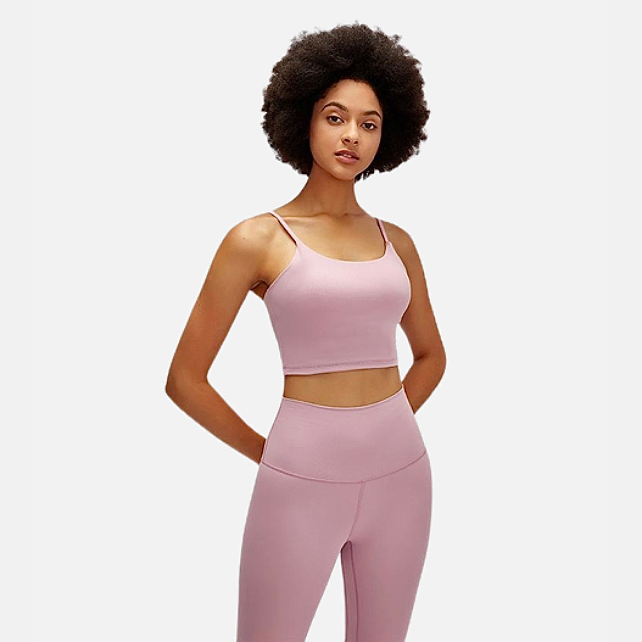 Pink miFit QuickDry Sports Bra      Essential Anti-sweat Padded Quicksand Powder Workout Gym Athletic Yoga Fitness Sports Bras Women's Crop Tops