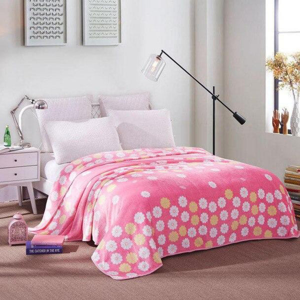 Soft Warm Pink Flower Blanket Throw Plush Thick Fleece Blankets for Sofa Bed Bedroom Home Decor Furnishing Trend