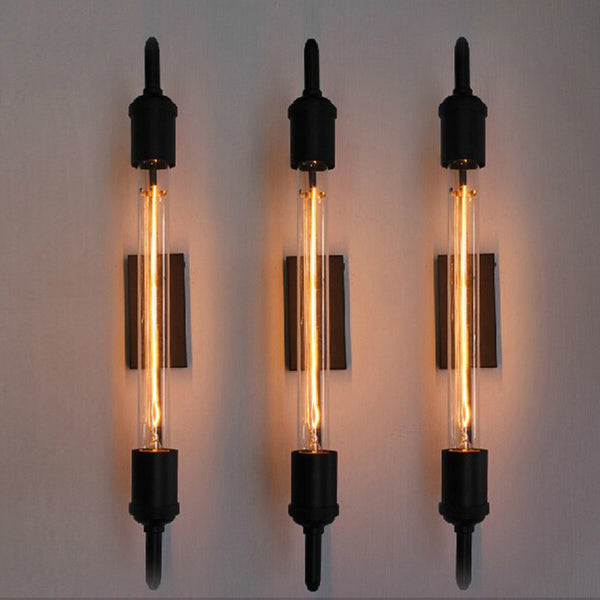vintage steam pipe retro black metal wall lamp