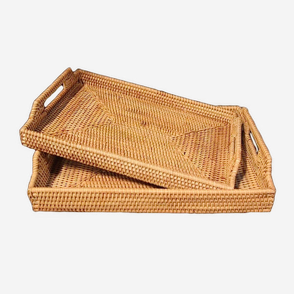 Rattan Serveware Trays 2 Piece Set Kitchen Organization Wicker fruit dish baskets Candy snacks pastry sundries tray Trending
