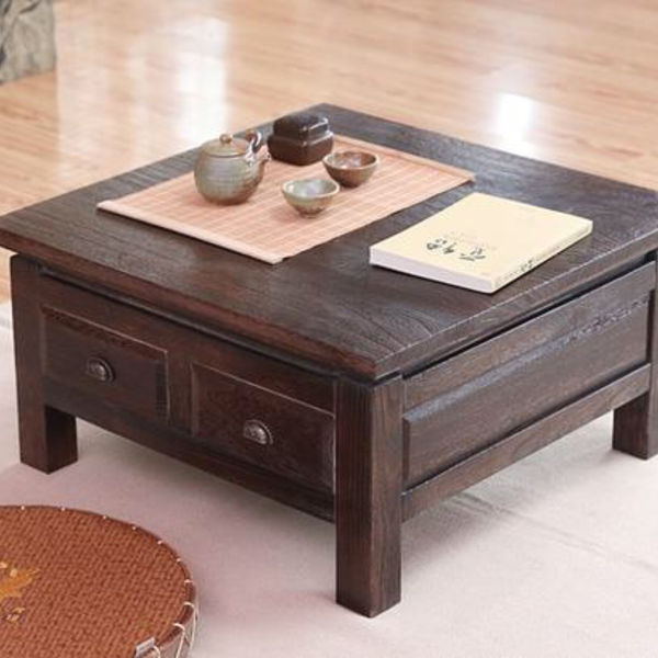 Trend Japanese Antique Tea Table Wooden Cabinet With Two Drawer Square 65cm Paulownia Wood Japan Traditional Asian Living Room Furniture