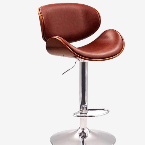Height Adjustable Swivel Bar Stool Walnut Bentwood Brown PU Leather Seat and Back Home Cafe Modern Stool For Pub Mini Bar Furniture Trend