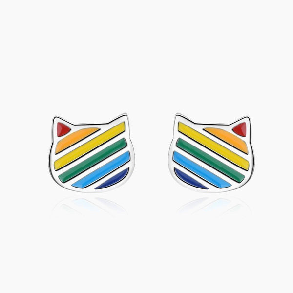 Cute Cat Shape Rainbow Drop Glazed Earrings Fashion Jewelry 925 Sterling Silver Earrings Jewellery Gift Trend Style