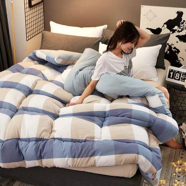 Blue Plaid Cotton Patchwork Quilt Duvet King Queen size Luxury Printed Thick Summer Winter Blanket Comforter Filler Bedroom Bedding Trend
