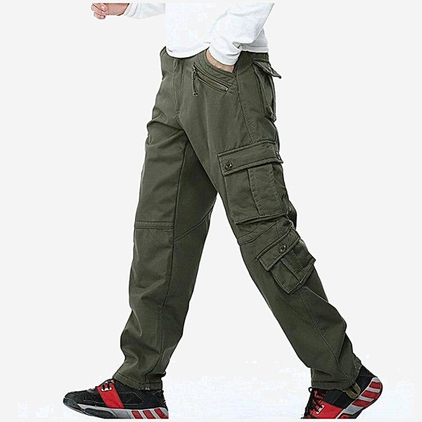 Fleece Military Cargo Pants Multi-pockets Baggy Mens Warm Army Green Cotton Casual Overalls Army Tactical Trousers Trend