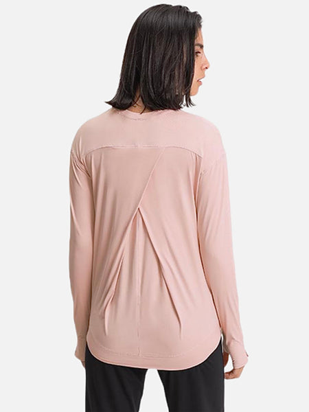 miFit QuickDry T-Shirt      Loose Long Sleeve Lightweight Anti-sweat Champagne color Yoga Fitness Shirts with Thumb Hole Women's Fit Sport Training Workout Sportswear T-Shirts Tops Trend