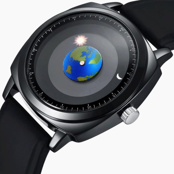 Personality Creative Rotation Earth Watch Silicone or Leather Strap Quartz Sport Watches Men Women Fashion Trend
