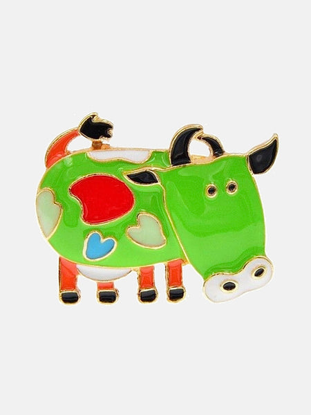 Enamel Pin Brooch      Green Enamel Cartoon Milk Cow Brooch Pin Brooch Jewelry Fashion Accessorize Jewellery Trend