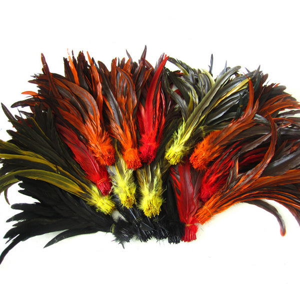 Multicolour Loose Rooster Tail Feathers 100 Piece Set Costume Handicrafts Craft Party Headband Home Decoration Accessories