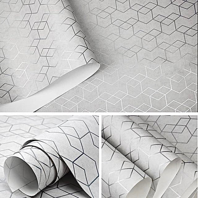 Luxury Geometric Wallpaper Roll Grey / Gray Wall Paper Modern Design Bedroom Living Room Background Home Wall Decor Detail