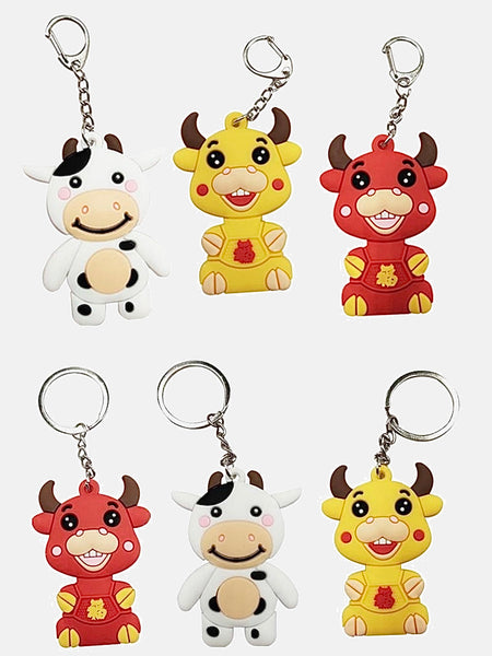 Cartoon Cow Keychain   Silicone Key Ring Bag Pendant Accessories Year Of The Ox New Year Gift Cute Car Key Holder  Available in D-Buckle and Ring style and in Red White Yellow color Trend