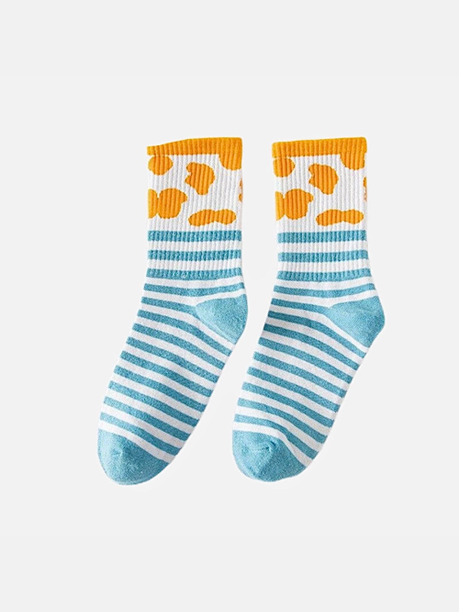 Rib Crew Socks      Cute Ribbed Cotton Light Blue Stripe White Cow Pattern print Street Fashion Cotton Socks footwear Trend