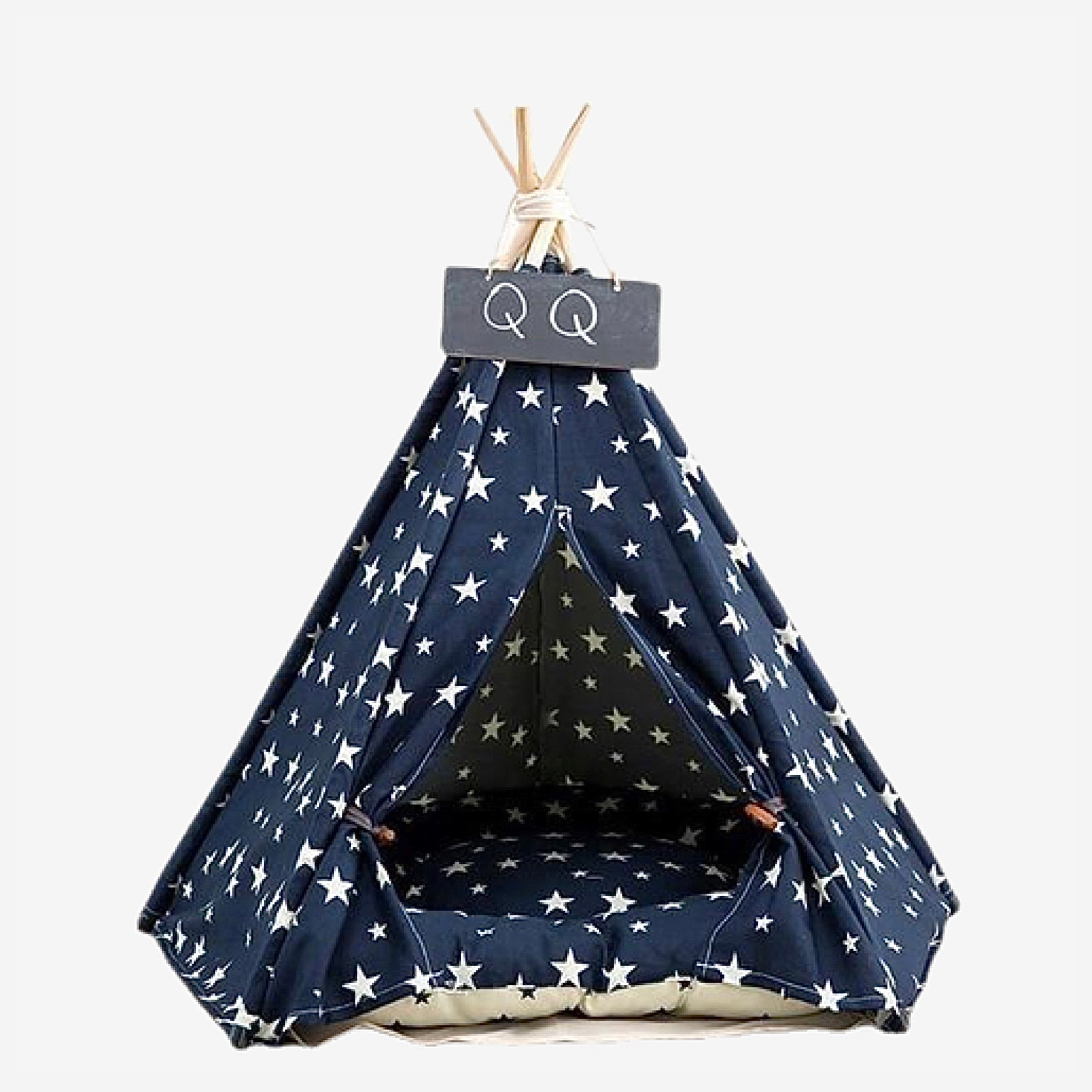 Teepee Pet Tent with Thick Cushion   House Cat Bed Portable for Dog Puppy Excursion Outdoor Indoor use Trend Stars Blue
