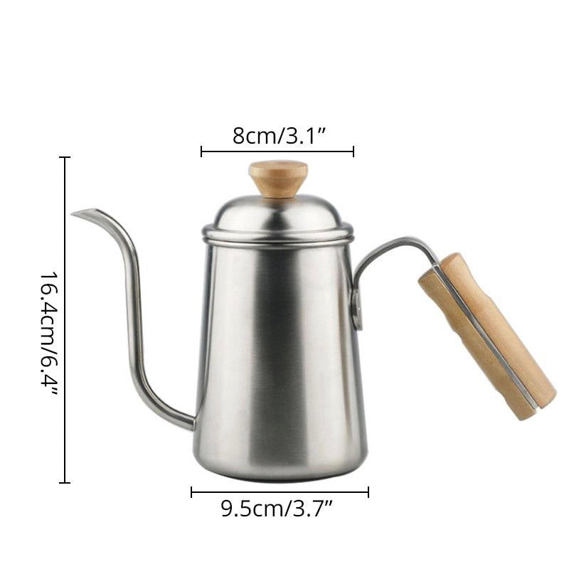 Long Narrow Gooseneck Spout Coffee Pot Stainless Steel Wooden Hand Pour Over Drip Kettle for Coffee Maker Size Chart