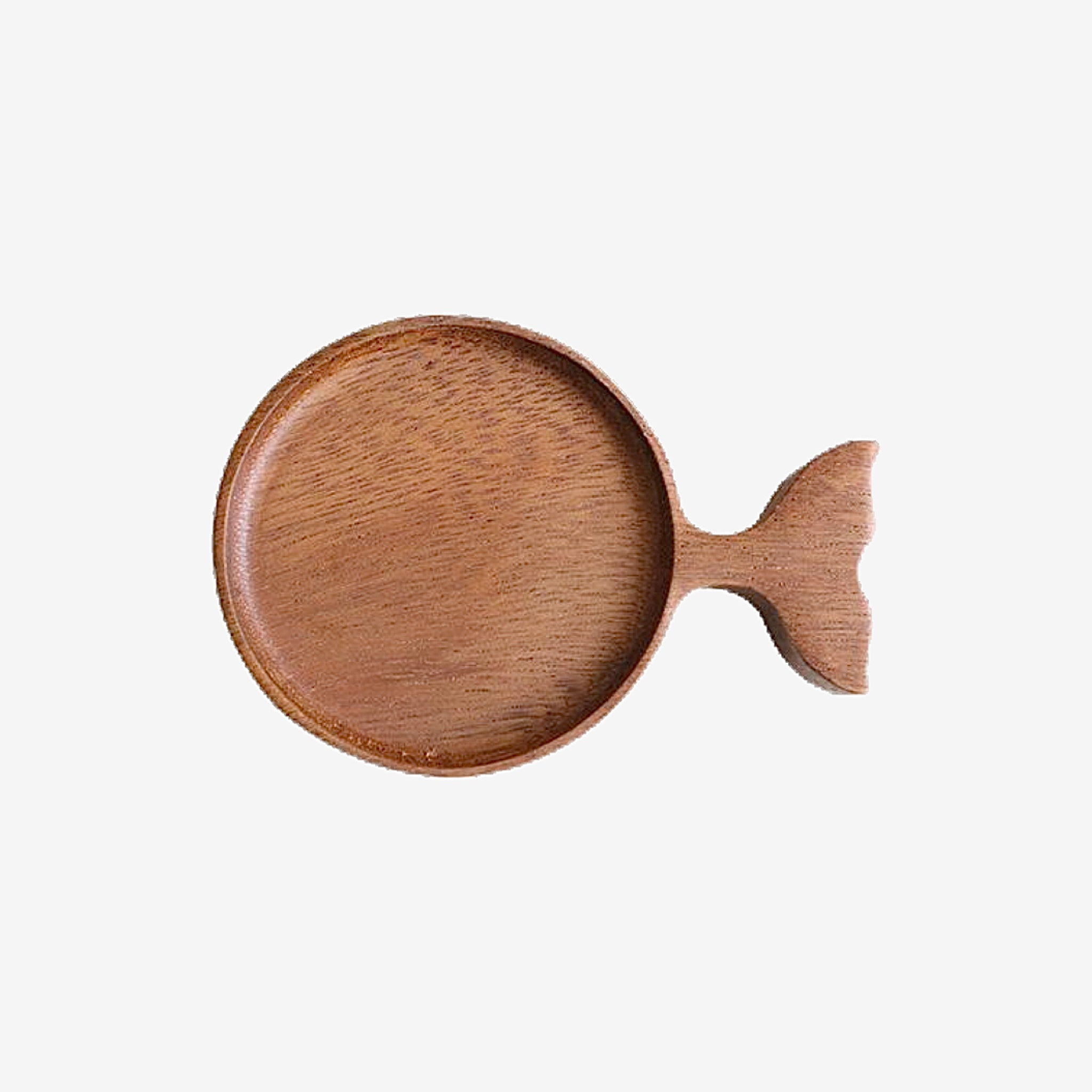 Japanese Acacia Wood Serving Dish Round Wooden Fish shape Plate Creative Retro Hand-painted Japan Tableware Dipping Sauce Dishes Trend