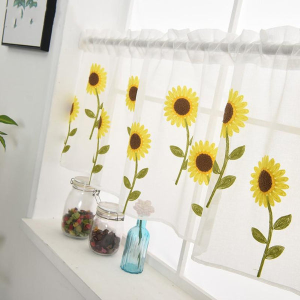 Yellow Sunflower Embroidery Half Curtain Door Window Curtain Partition kitchen Drape Home Decoration Trend