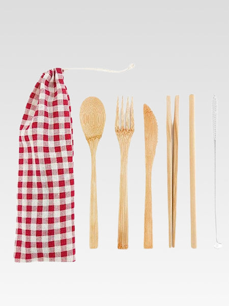 Bamboo Cutlery Set with Cloth Bag 6-Piece       Portable Japanese eco-friendly red plaid checkered print white drawstring pouch wooden fork spoon knife drinking straw + straw cleaner Japan travel flatware sets Trend