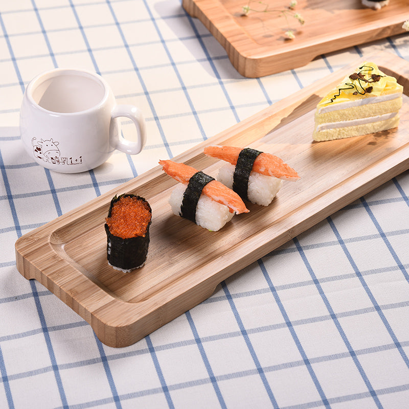 Rectangle Bamboo Sushi Tray Dishes Tea Dinner Plate Party Serving Trays Style B