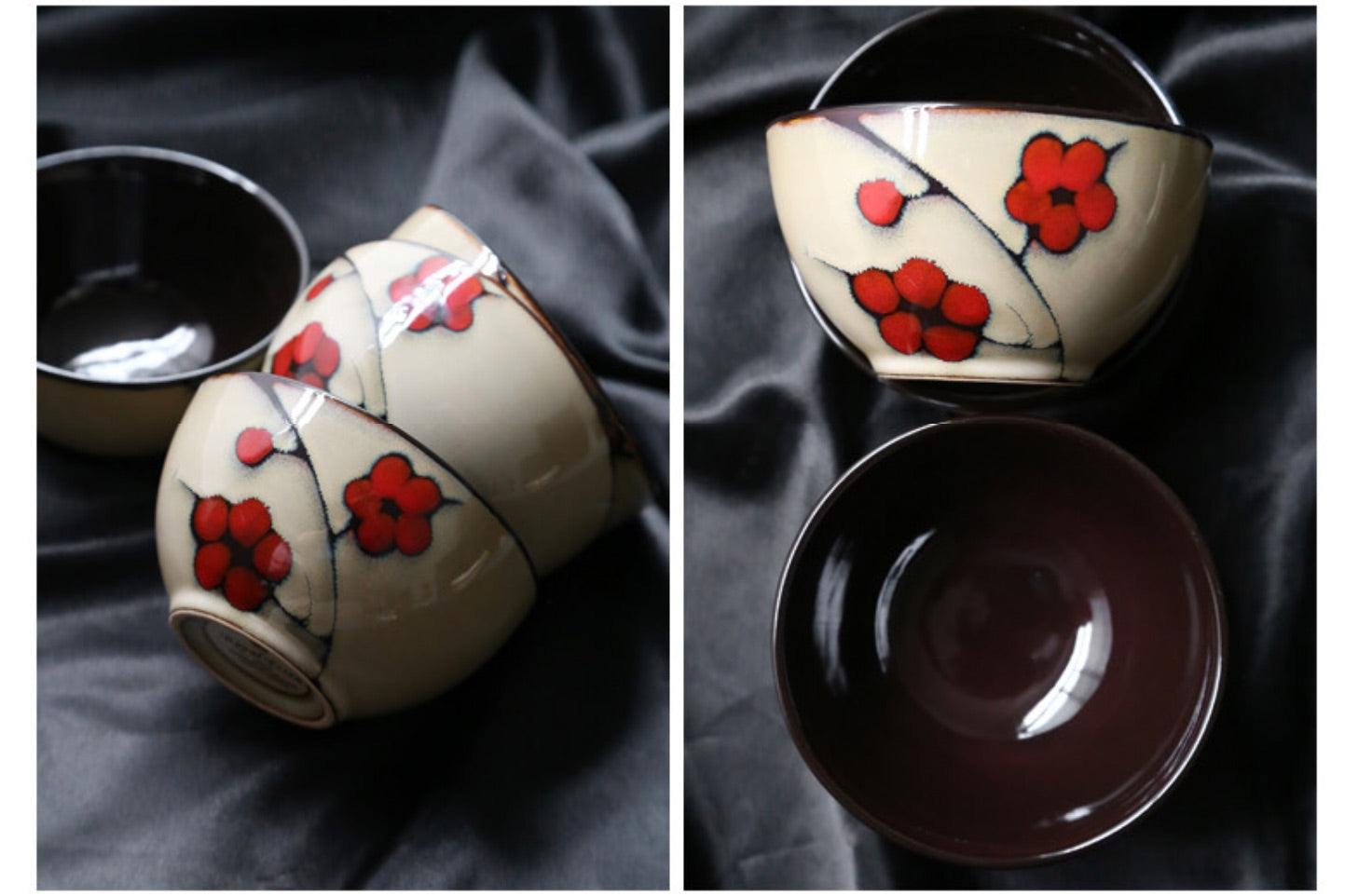 Japanese Red Plum Porcelain Cups Tableware Japan On-Glaze Ceramic Dinnerware Dinner Sets JPN Style D