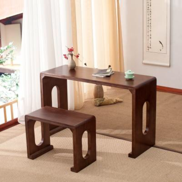 Japanese Walnut Color Wooden Piano Table Stool Set Rectangle Asian Antique Furniture Living Room Oriental Japan Wood Tea Coffee Table Design