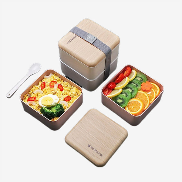 Bento Lunch Box 2-Layer   Japanese Microwave Food Container Storage Case with Spoon and Chopsticks Japan meal boxes Trend