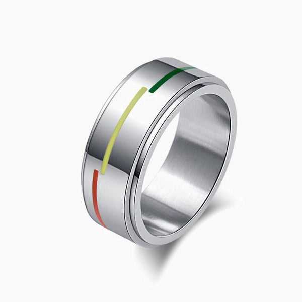 Stainless Steel Titanium LGBT Ring Rotatable Rainbow Flag Jewelry Silver Plated Rings 6-11 Size Jewellery Trend
