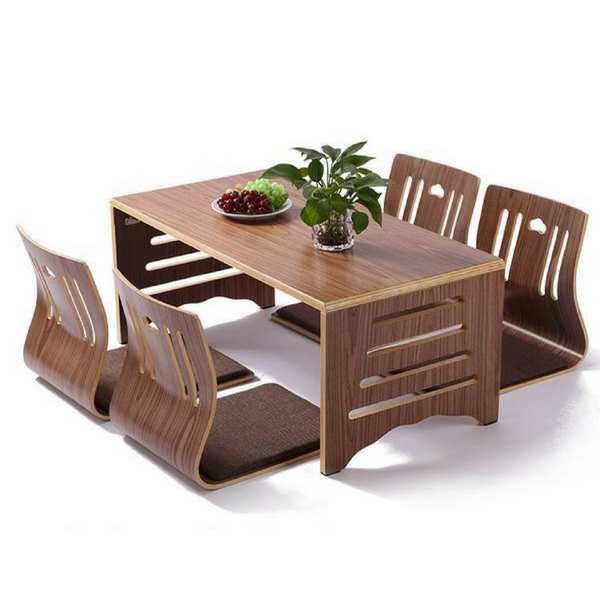 Modern Japanese Walnut Dining Table and Chair Set Asian Dining Furniture
